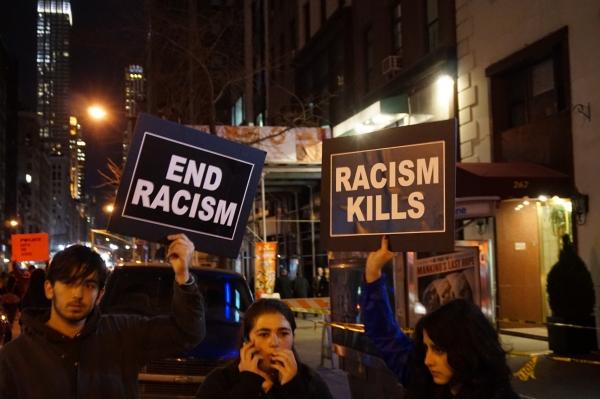 Protest signs in Ferguson, Missouri